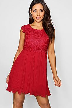 Boutique  Corded Lace Pleated Skater Dress
