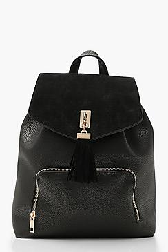 Se  Suedette Tassel Trim Backpack ved Boohoo.com