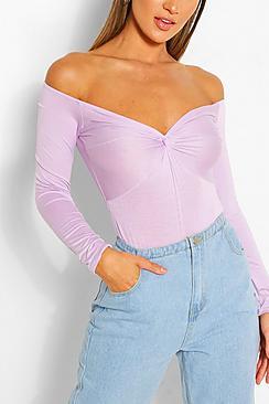 Twist Front Off The Shoulder Bodysuit