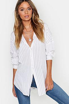 Oversized Split Side Stripe Shirt