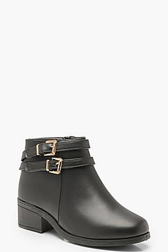 Wide Fit Double Buckle Chelsea Boots