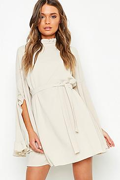 Boho High Neck Wide Sleeve Shift Dress