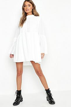 Boho Crochet Detail Wide Sleeve Smock Dress