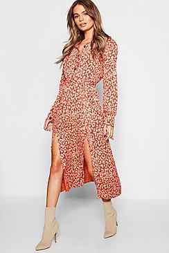 Leopard Collar Button Through Belted Midi Dress