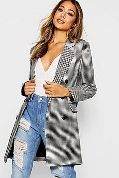 Se  Dogtooth Double Breasted Blazer ved Boohoo.com