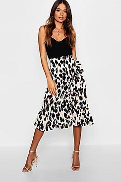Satin Leopard Ruffle Wrap Midi Skirt