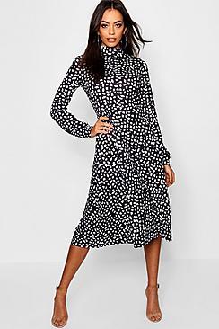High Neck Long Sleeve Dalmatian Print Midi Dress