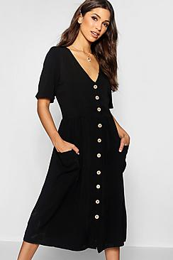 Button Front Pocket Detail Midi Dress