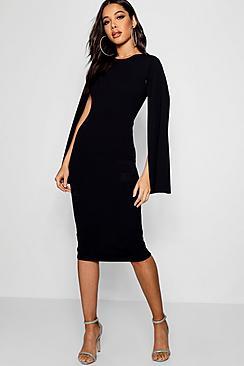 Se  Cape Sleeve Bodycon Midi Dress ved Boohoo.com