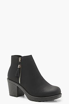 Wide Fit Zip Side Chunky Heel Chelsea Boots