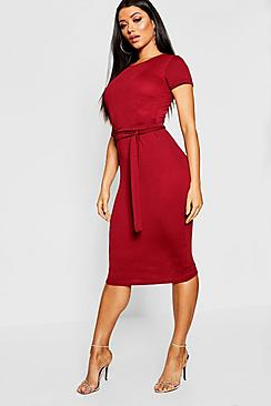 Pleat Front Belted Tailored Midi Dress