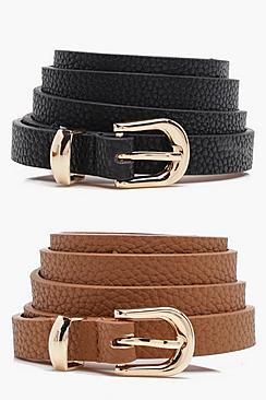 Basic Skinny Belts 2 Pack