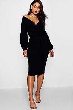 Off the Shoulder Wrap Midi Dress