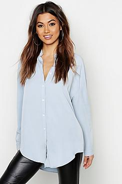 Se  Oversized Soft Touch Denim Shirt ved Boohoo.com