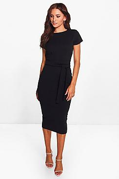 Se  Pleat Front Belted Tailored Midi Dress ved Boohoo.com