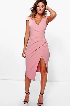 Cap Sleeve Wrap Midi Dress