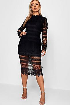 Plus Lace Panelled Midi Dress