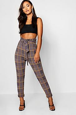 Petite Dogtooth Check Belted Trouser