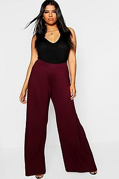 Se  Plus Jersey Wide Leg Trouser ved Boohoo.com