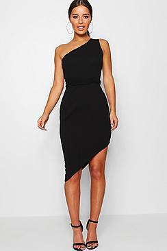 Se  Petite One Shoulder Asymmetric Bodycon Dress ved Boohoo.com