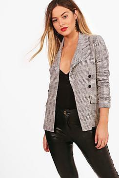 Se  Petite  Check Button Sleeve Blazer ved Boohoo.com