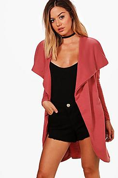 Se  Petite  Ponte Wrap Front Duster Jacket ved Boohoo.com