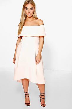 Plus  Double Layer Midi Dress