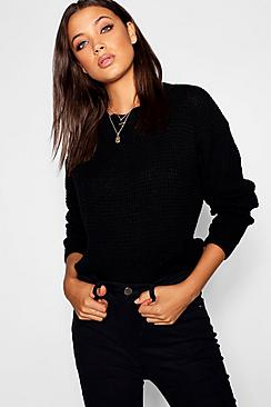 Se  Tall Crew Neck Cropped Jumper ved Boohoo.com