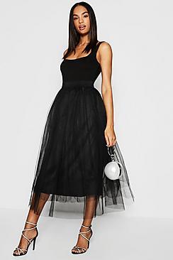 Tall Boutique Tulle Mesh Midi Skirt