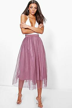Se  Tall Boutique Tulle Mesh Midi Skirt ved Boohoo.com
