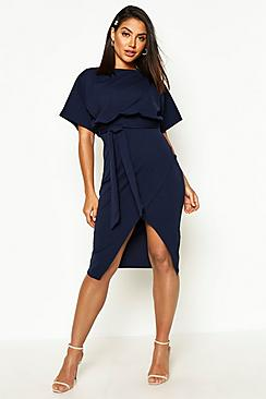 Slash Neck Tie Waist Midi Dress