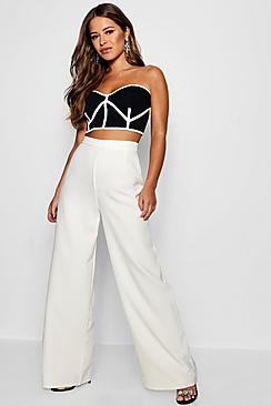 Petite  High Waisted Woven Wide Leg Trousers