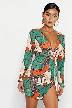 Satin Chain Print Twist Shift Dress