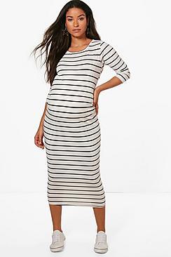 Maternity  Striped 3/4 Sleeved Midi Dress