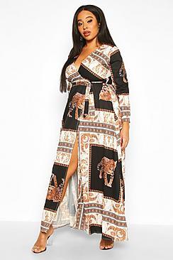 boohoo Plus Chain Print Maxi Dress