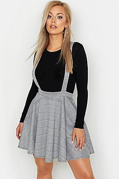 Plus Dogtooth Check Pinafore Skirt