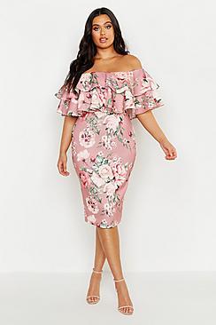 Plus Off Shoulder Floral Ruffle Midi Dress