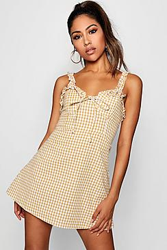 Ruffle Shoulder Gingham Mini Dress