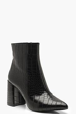 Croc Block Heel Sock Boots