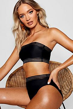 Cape Verde Mesh Detail Bandeau High Waisted Bikini