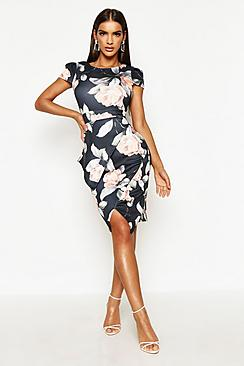 Asymmetric Peplum Floral Print Midi Dress