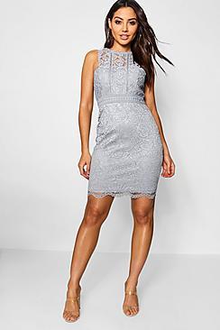 Boutique  Lace Racer Neck Bodycon Dress