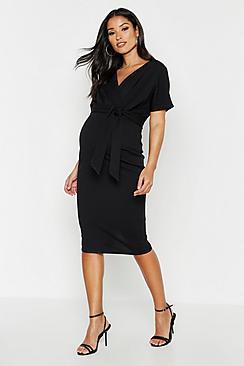 Maternity Wrap Tie Waist Midi Bodycon Dress