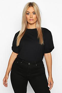 Se  Plus Ruched Knot Puff Sleeve T-Shirt ved Boohoo.com