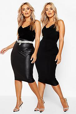 Plus 2 Pack Leather Look and Jersey Midi Skirt