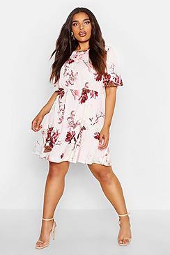 Plus Tiered Floral Crepe Smock Dress