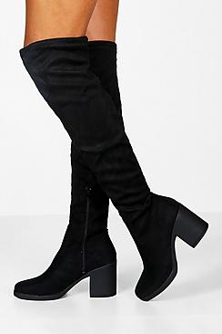 Se  Chunky Over The Knee High Boots ved Boohoo.com