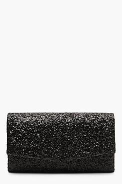 boohoo Structured Glitter Envelope Clutch With Chain