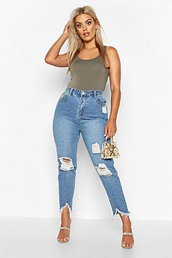 Plus Ripped Distressed High Waist Mom Jeans