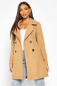 Double Breasted Collared Wool Look Coat
